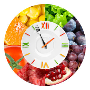 Food clock with fruits and vegetables. Healthy food concept
